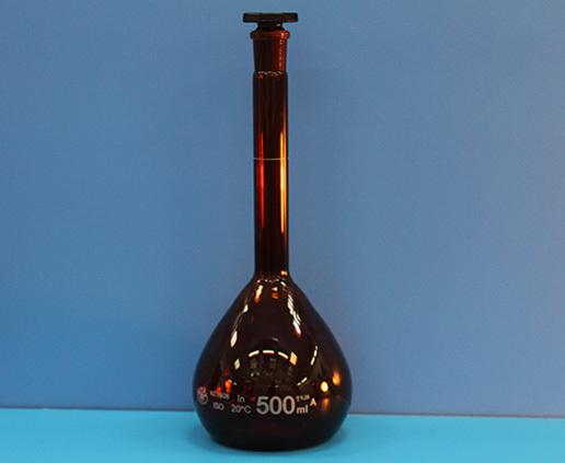 Колба мерная, класс А, 500 мл, со стеклянной пробкой, темная
