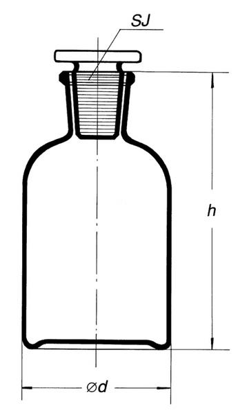 Склянка для реактивов на 500 мл из светлого стекла