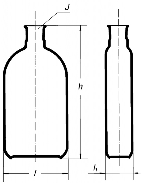 Бутыль Роукса, культуральная, 75 мл, формованная горловина по центру
