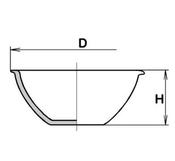 Чашка выпарная, 61х28, глубокая, дно плоское