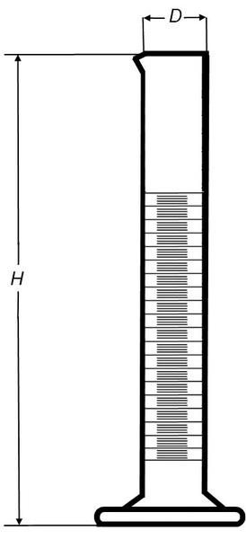 Цилиндр высокий, 50 мл, коричневый, с носиком, серебристая шкала