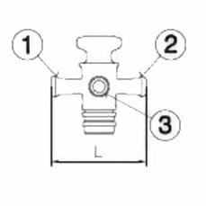 Кран трехходовой, пробковый, DN 25 KZB/A/B L