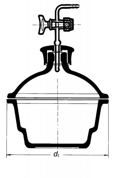 Эксикатор с краном, 100 мм, с пластмассовой крышкой, без диска