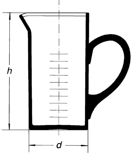 Мензурка мерная цилиндрическая, 2000 мл, с ручкой