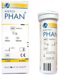 Кетофан, тест-полоски для определения кетонов в моче, тубус 50 шт