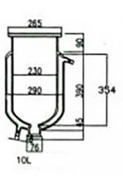 Стеклянный резервуар к реактору на 10 л