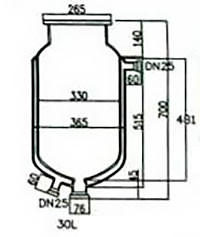 Стеклянный резервуар к реактору на 30 л