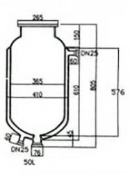 Стеклянный резервуар к реактору на 50 л