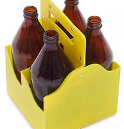 Переноска на 4 бутылки объемом 1 л, ячеистый полипропилен