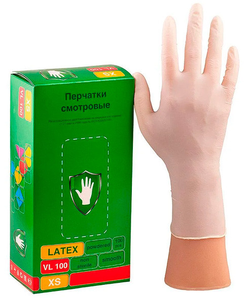 Перчатки SC смотровые латексные (5055) опудренные VL 100 /1000 (L)