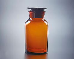 Склянка для реактивов, 500 мл, из темного стекла, с широкой горловиной и притертой пробкой