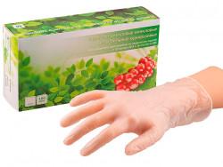 Перчатки SunViv смотровые виниловые, безцветные, неопудренные (S) уп. 100 шт