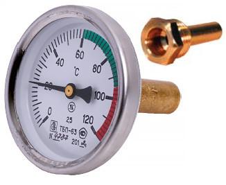 Термометр биметаллический ТБП63/50/Т (0-120 °С) с гильзой и резьбой G1/2