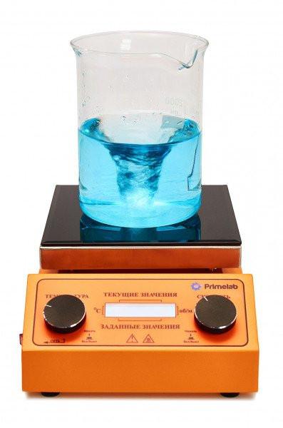Комплект: программируемая мешалка с подогревом Primelab PL-R-steps-H, датчик PT1000, штатив