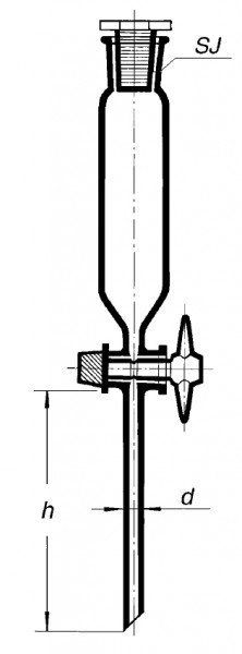 Воронка делительная, 50 мл, цилиндрическая