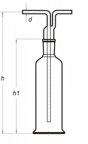 Склянка Дрекселя, 250 мл. шлиф 29/32 (с  адаптером)