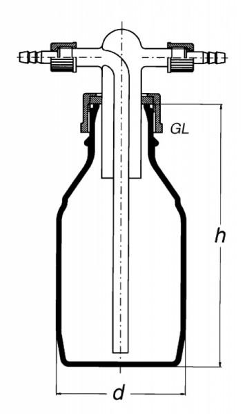 Склянка Дрекселя, 500 мл с крышкой GL45 (с адаптером)