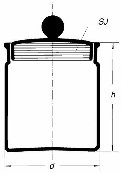 Бюкс высокий, с утапливаемой крышкой со шлифом, 65 мл, 34/12