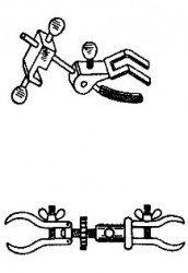 Лапка (малая) с зажимом, 3-х палая для штатива Бунзена ШЛ-02 (среднего) нерж. сталь
