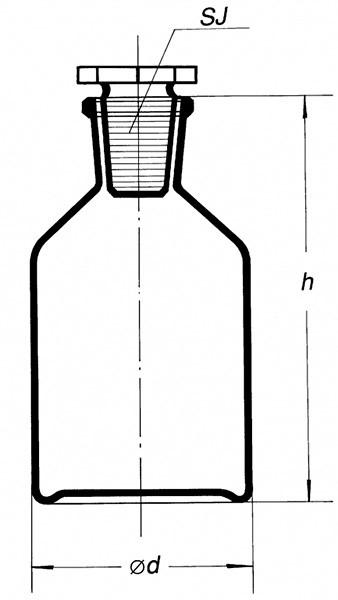 Склянка темная, (узк. горловина) 100 мл, с пробкой