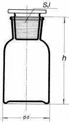 Склянка для реактивов на 60 мл из светлого стекла