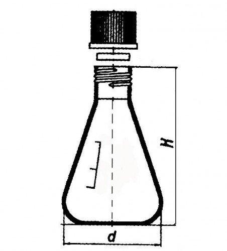 Колба Эрленмейера, 100 мл, с винтовой крышкой