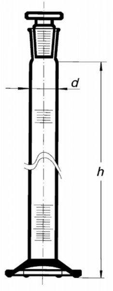 Цилиндр высокий, класс 2, 25 мл, со стеклянной пробкой, коричневая шкала