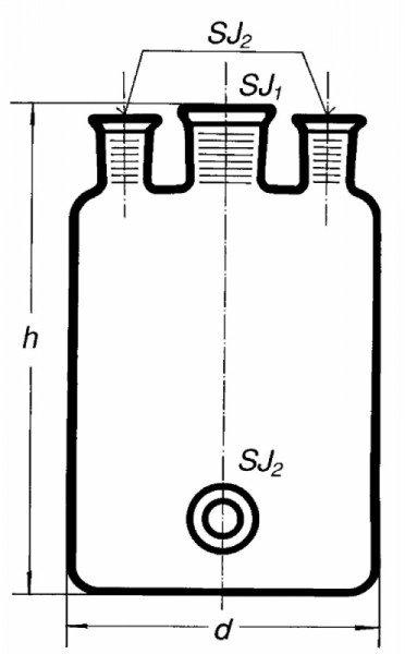 Бутыль Вульфа с 3 горловинами, 10000 мл, без крана