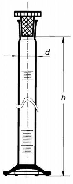 Цилиндр высокий, класс 2, 10 мл, с пластмассовой пробкой, коричневая шкала