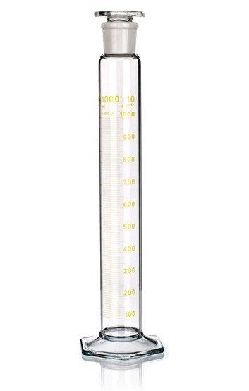 Цилиндр высокий, класс 2, 500 мл, с пластмассовой пробкой, коричневая шкала