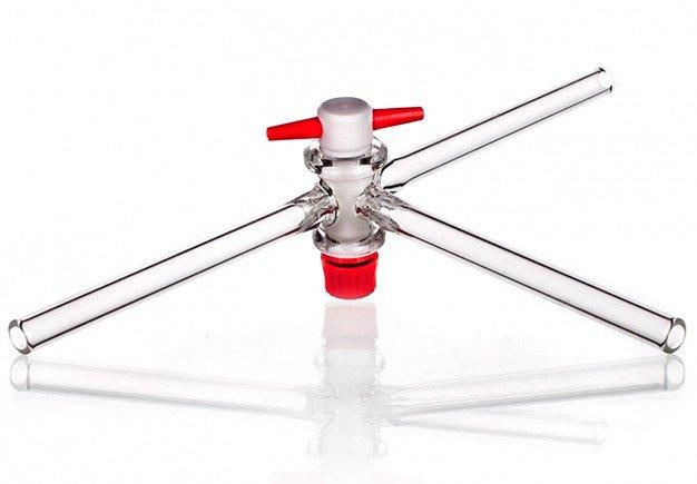 Кран трехходовой, 2,5 мм, Т-образный, тефлоновый вентиль