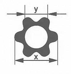 Профильная трубка Simax, шестилепестковая, диаметр наружн. 24 мм, внутр. 12 мм
