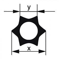 Профильная трубка Simax «Звезда», 6 лучей, диаметр наружн. 16 мм, внутр. 7,6 мм